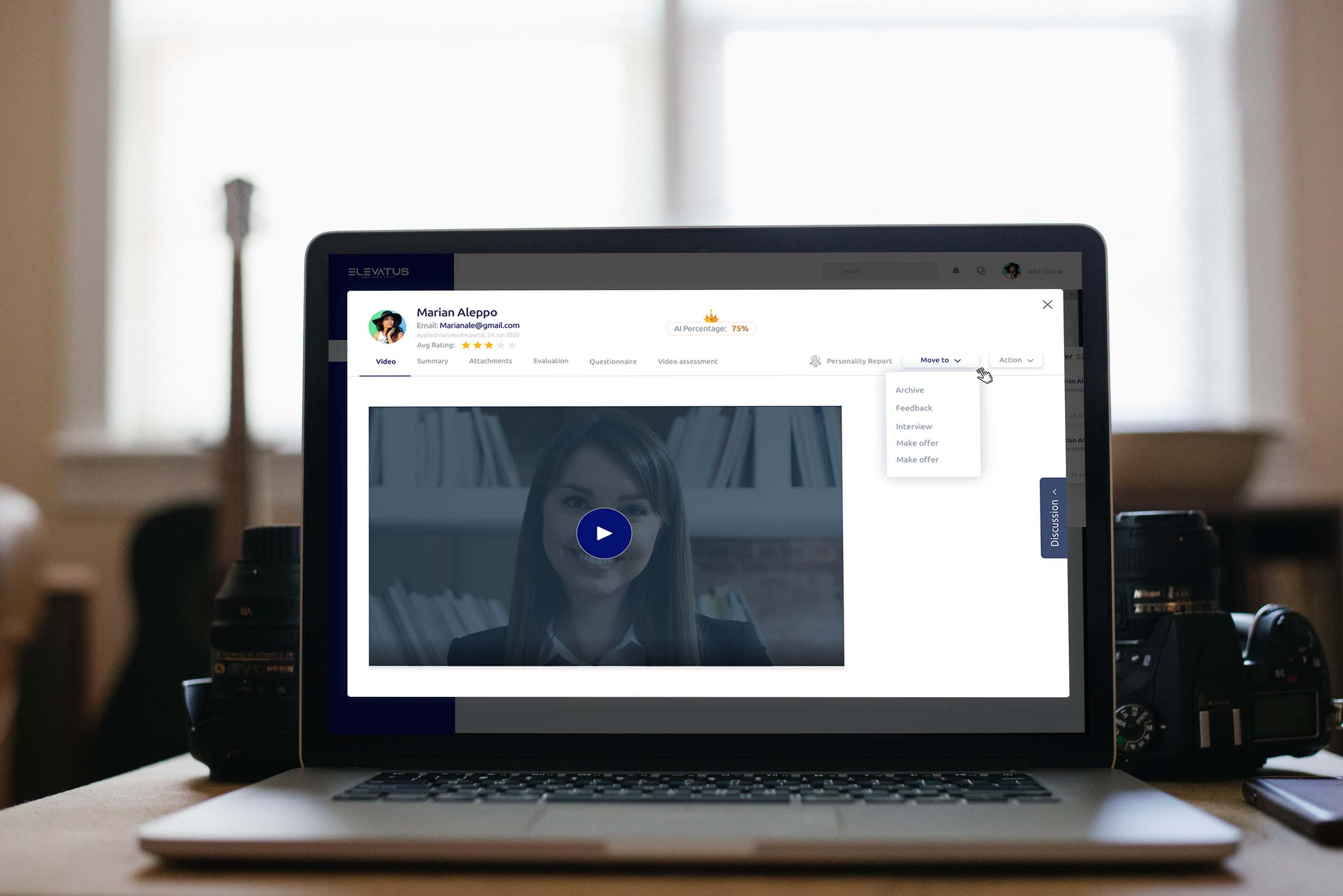 Laptop screen showing Elevatus video assessment tool.